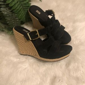 UGG black suede leather sandals